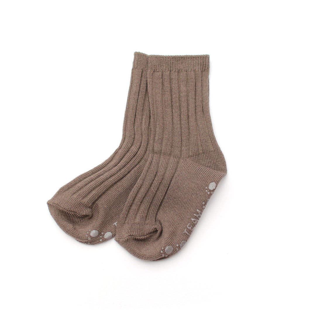 Ribbed Ankle Socks - Taupe