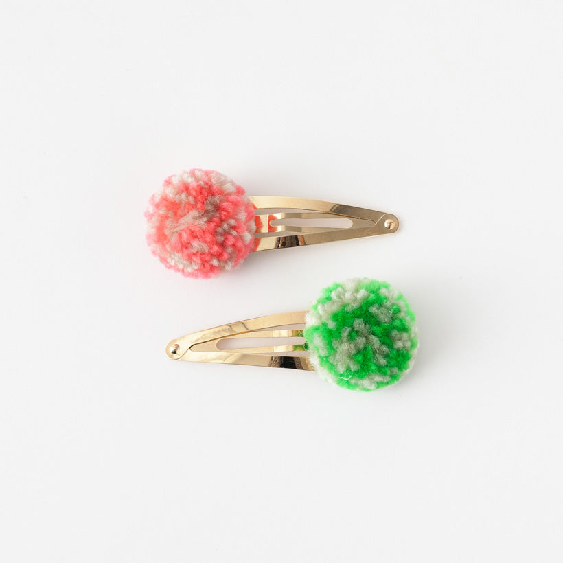 Pompom hair clips (Coral and Green Mix)