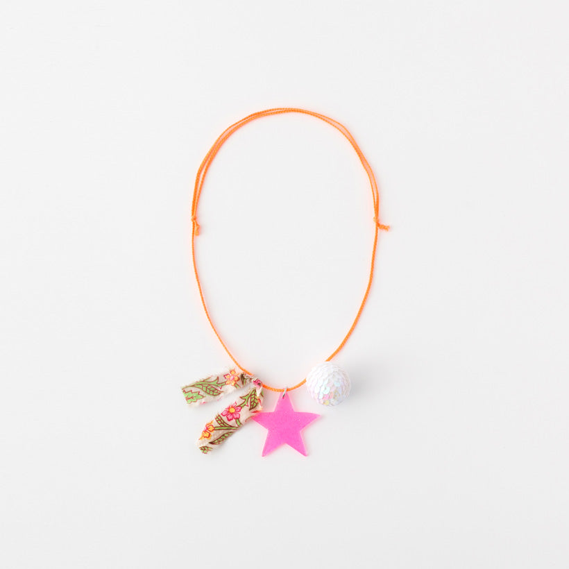 Star and sequin ball necklaces (pink star)