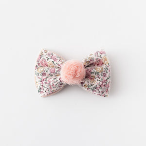 Floral bow with pom pom hair clips (creme)