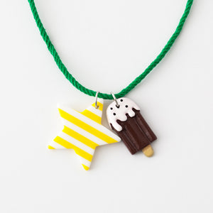 Star and ice cream necklaces (yellow stripe star)