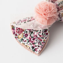 Floral bow with pom pom hair clips (pink)