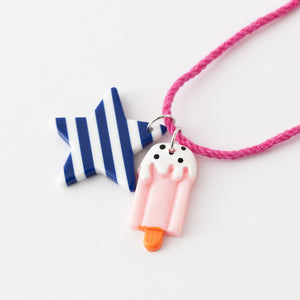 Star and ice cream necklaces (navy stripe star)