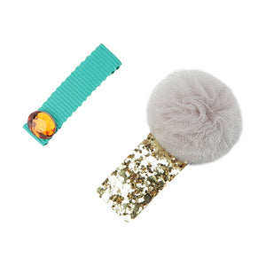 Pom Pom and Jewel Hair Slides - Grey/Gold
