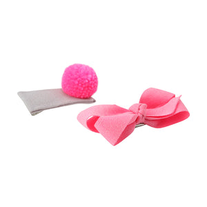 Pom Pom and Bow Hair Slides - Pink