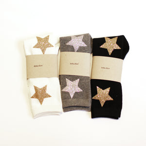 Twinkle socks - Dark gray with Silver Stars