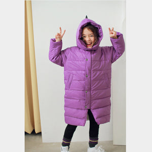 Dino long padded parka - purple