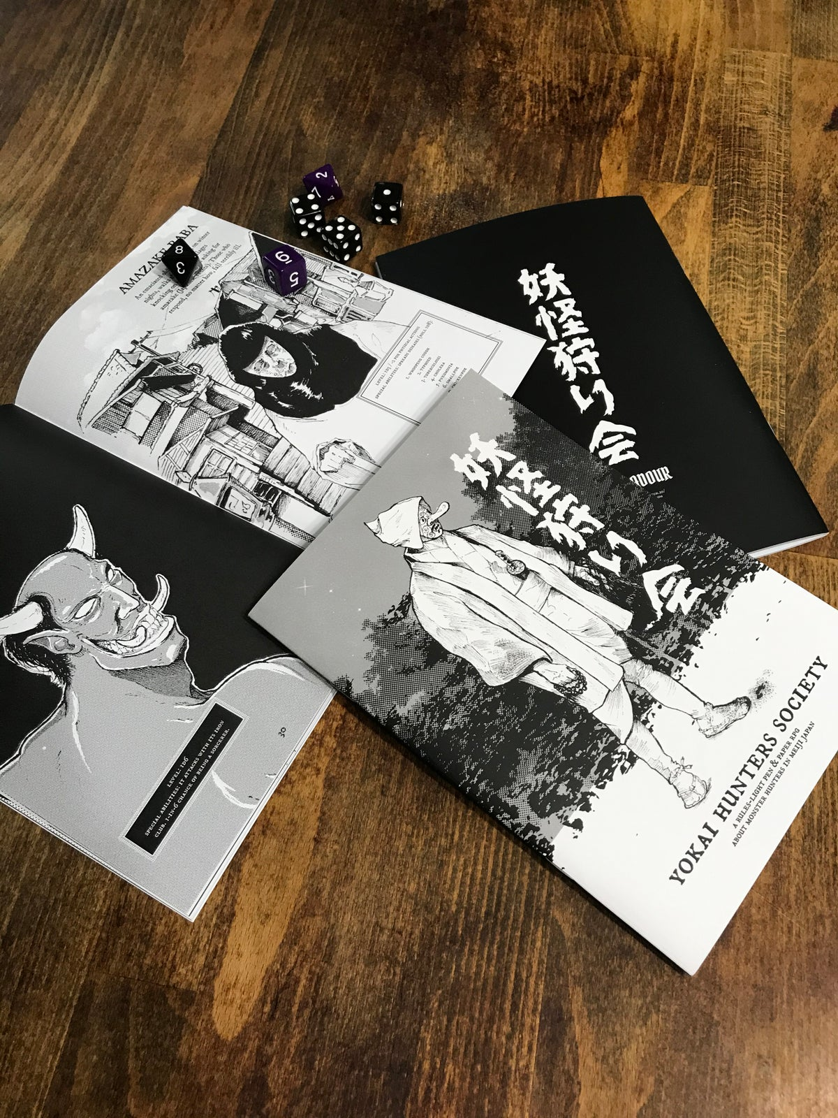 Yokai Hunters Society, a rules-light pen & paper RPG in zine format about Monster Hunting in Meiji Japan. Based on Tunnel Goons by Nate Treme
