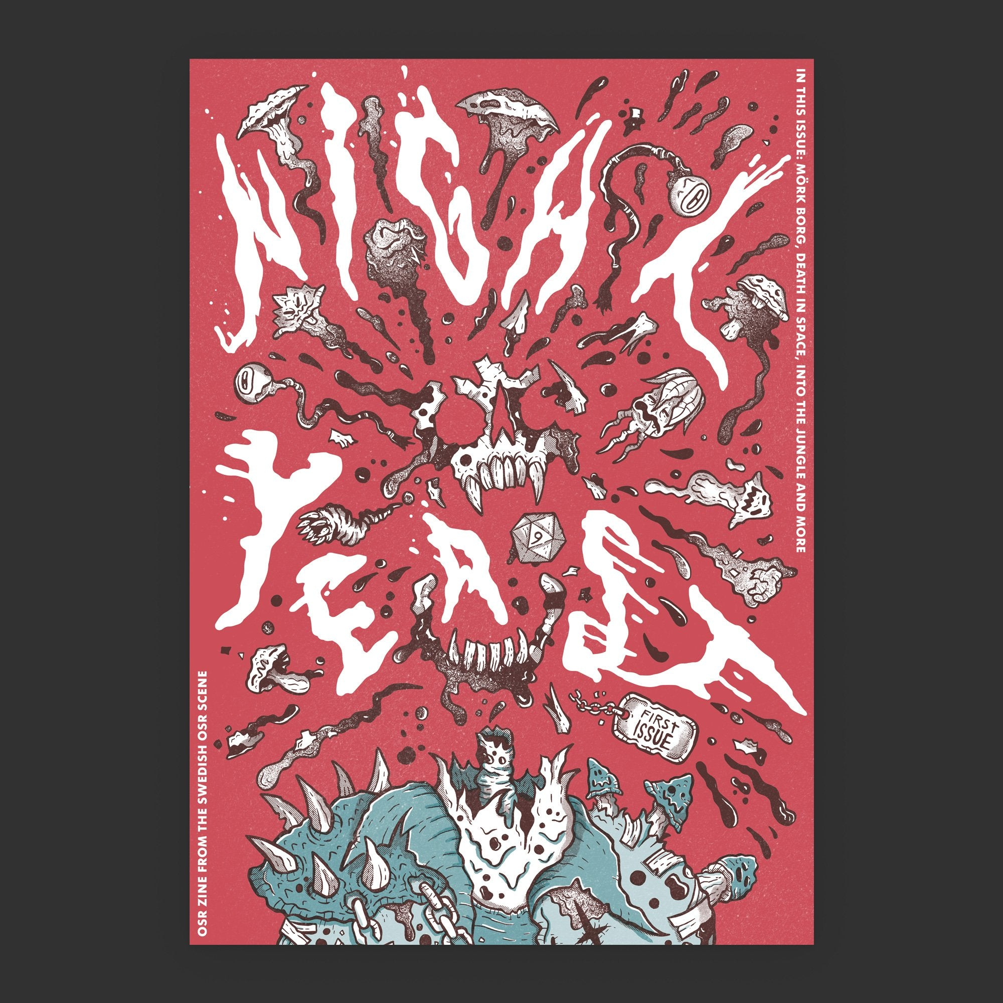Night Yeast an OSR Zine from the Sweidsh OSR Scene, Mork Borg, Death in Space, Into the Jungle, and more. Cover by skullfungus. Risograph 1st issue