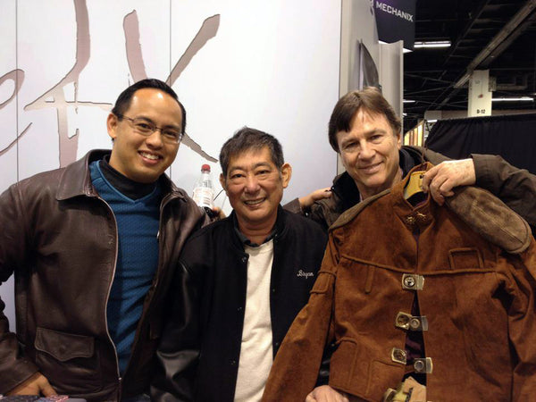 ANOVOS CEO and eFX CEO with Richard Hatch holding Tony Swartz screen used jacket.