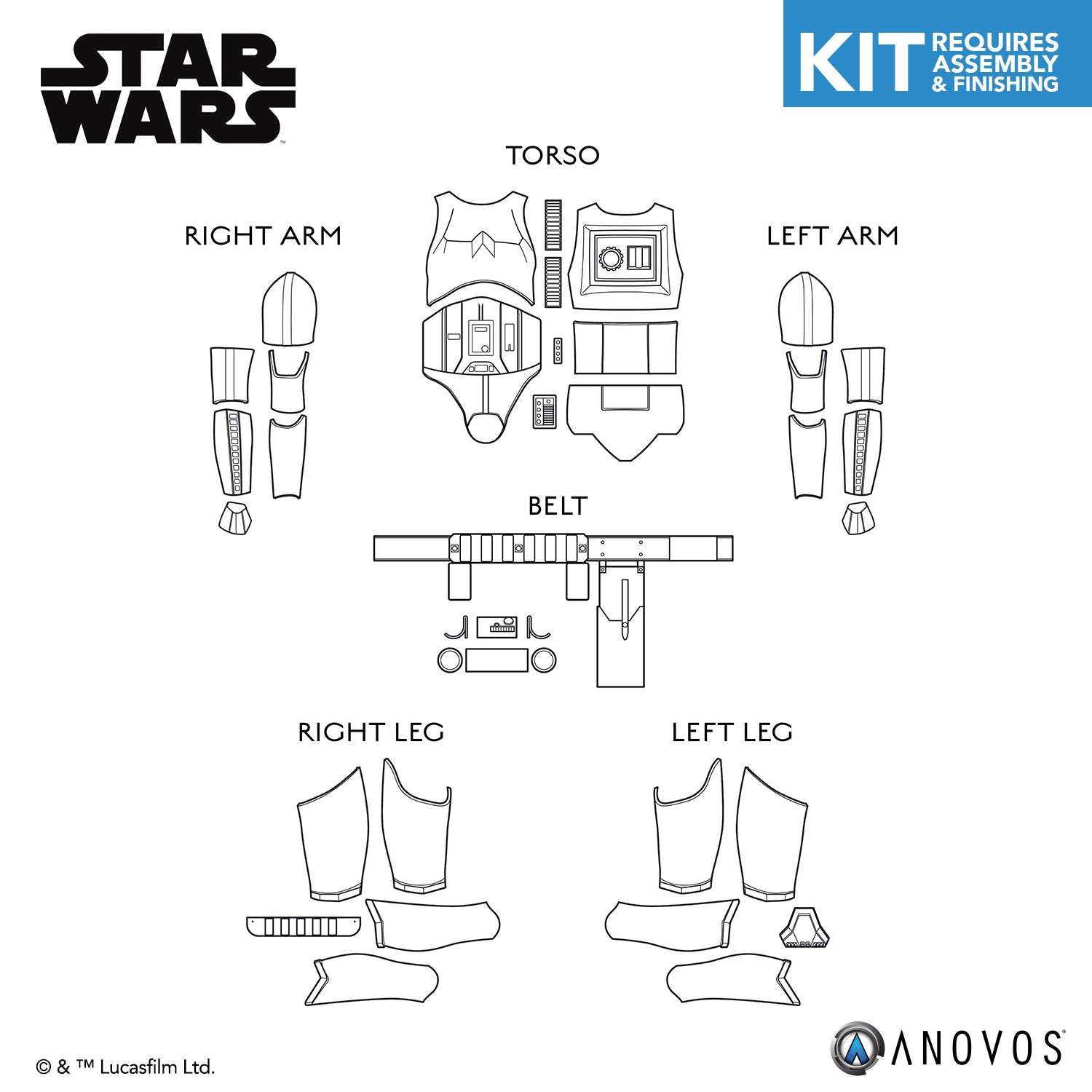 Star Wars Imperial Stormtrooper Armor Kit Replacement Parts Anovos Productions Llc