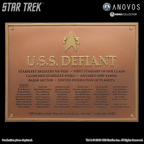 STAR TREK™: DEEP SPACE NINE U.S.S. Defiant NX-74205 Collectible Dedication Plaque Replica