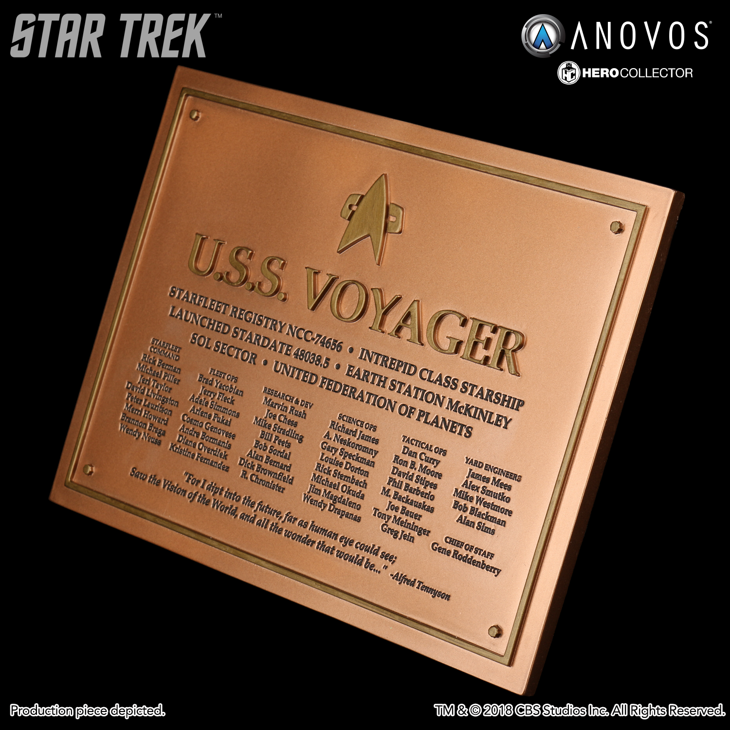 Eaglemoss Voyager Schiffs Plakette Neu Star Trek Dedication Plaque Replica