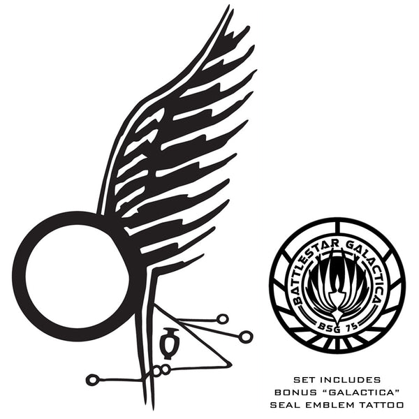 Battlestar Galactica - Starbuck's Wing Tattoo - Temporary Tattoo Set