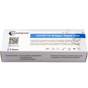 """Rapid test for personal use """"COVID-19 Antigen Rapid Test"""" - Clungene® - 5 tests / box - Care4Health"""