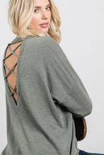 Load image into Gallery viewer, OLIVE CROSSED BACK LONG SLEEVE