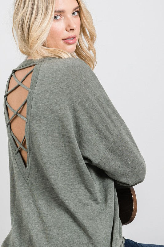 OLIVE CROSSED BACK LONG SLEEVE