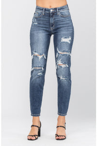 CAMMIE HI-RISE DISTRESSED BOYFRIEND FIT- JUDY BLUE