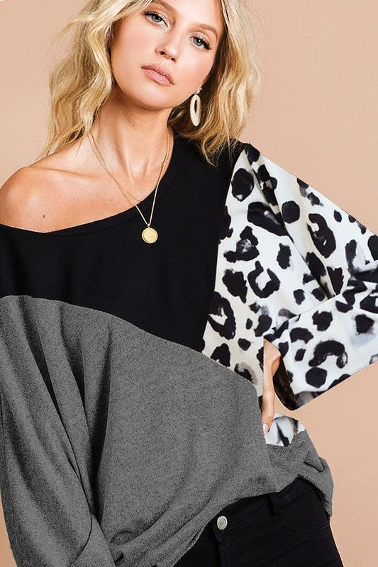 GET FUNKY LEOPARD COLOR BLOCK LONG SLEEVE