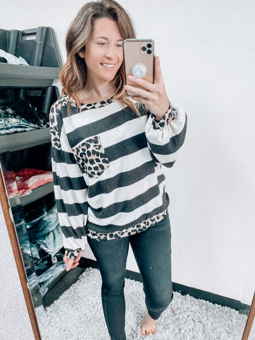 STRIPES & LEOPARD LONG SLEEVE