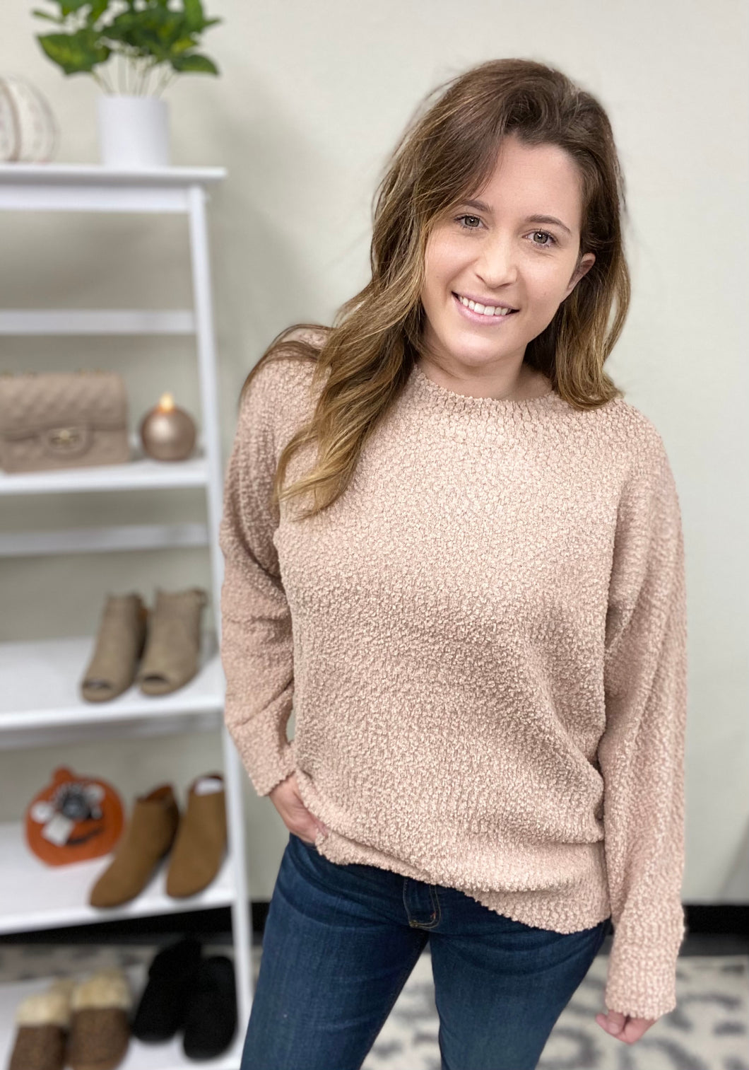 PLUSH POPCORN SWEATER- 2 COLORS