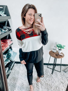 PLAID COLORBLOCK LONG SLEEVE