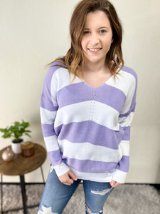 LILAC STRIPED KNIT SWEATER