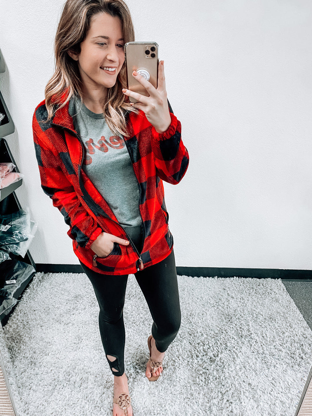 PERFECTLY PLAID ZIP UP JACKET