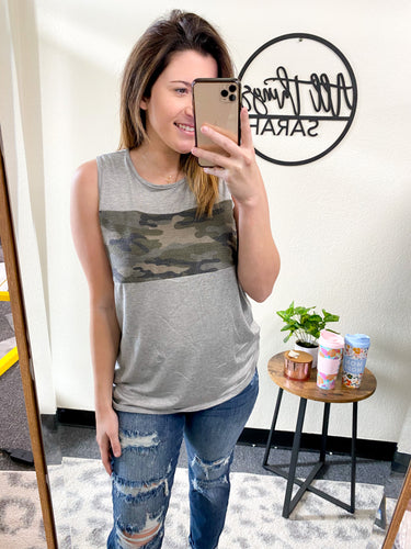 GREY AND CAMO TANK