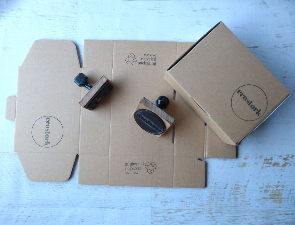 rubber stamp on box