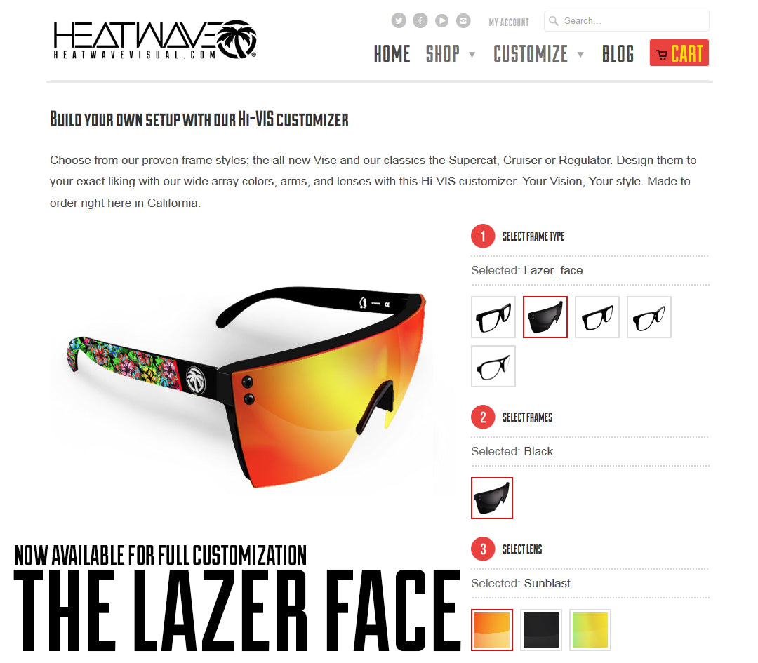 Sunglasses customizer
