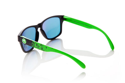 Customizable Sunglasses: Green Splatter Arms | Heat Wave Sunglasses