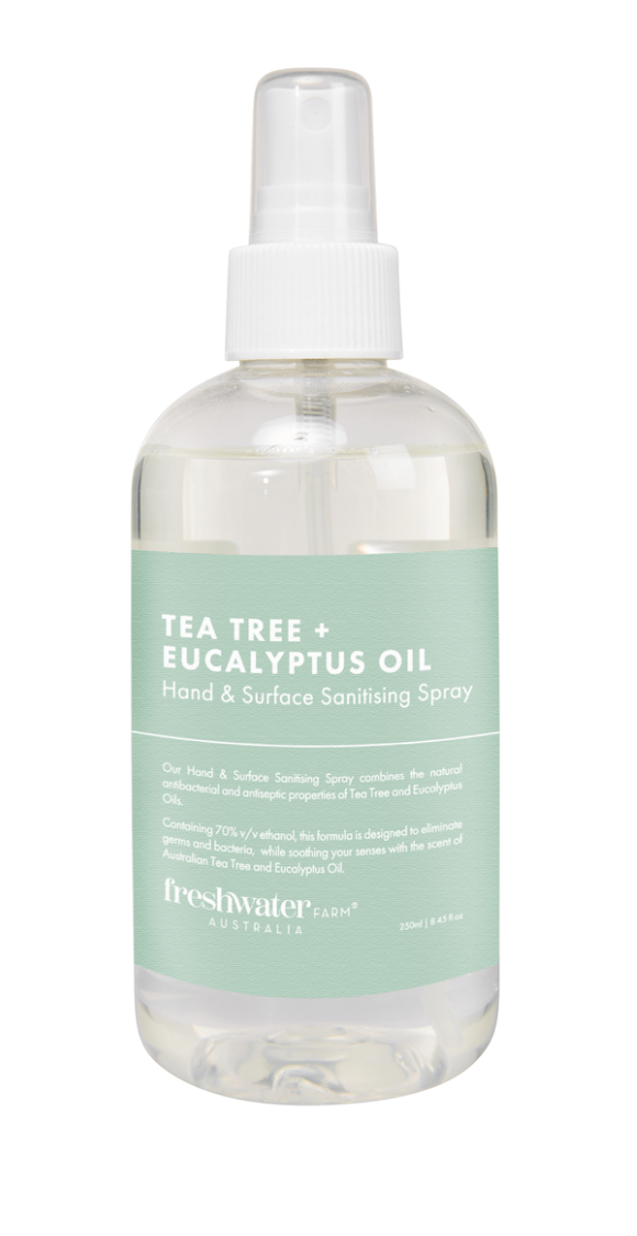Fresh water farm Tea Tree + Eucalyptus Oil Hand & Surface Sanitising Spray 250ml