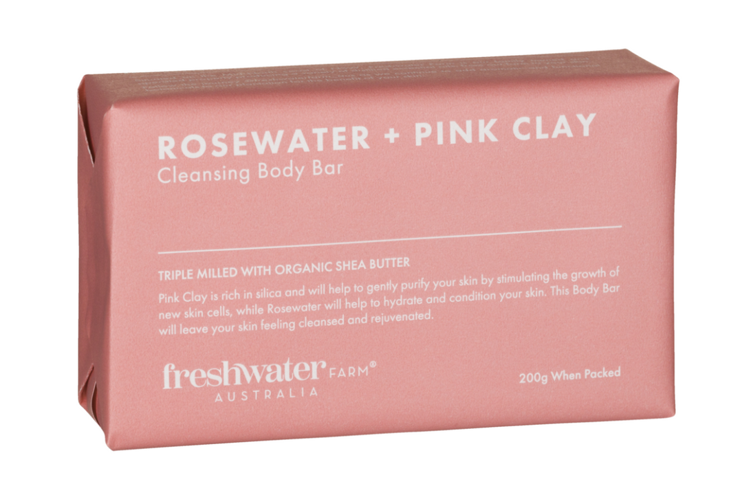 Fresh water farm Rosewater + Pink Clay Cleansing Body Bar 200g