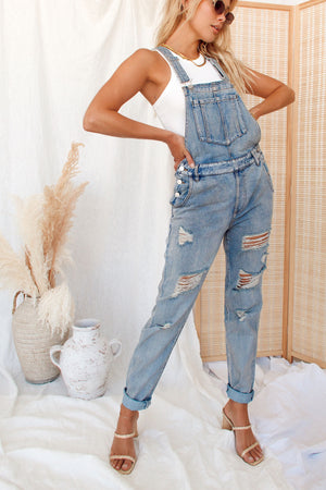 The Axel | Distressed Overalls
