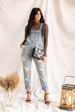 The Axel | Distressed Overalls - PepperLilly