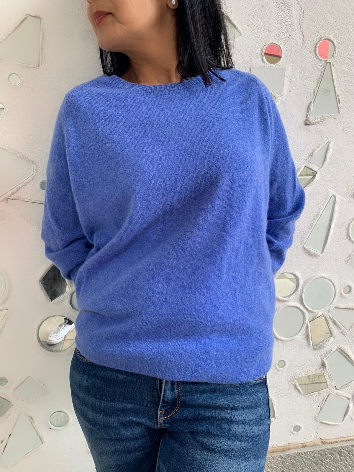 Pure Cashmere Heather Jumper - Cornflower Blue