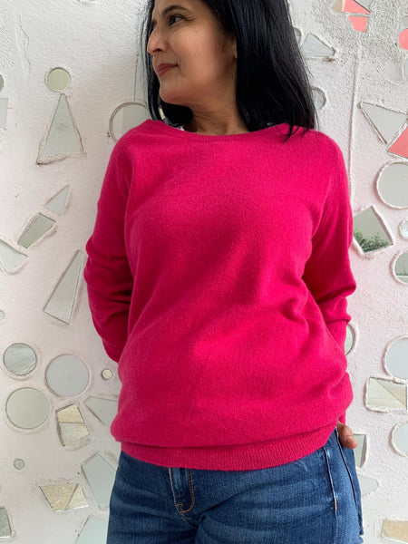 Pure Cashmere Heather Jumper - Fuschia
