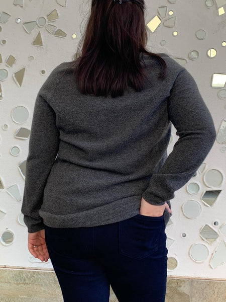 Pure Cashmere Heather Jumper - Charcoal