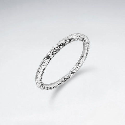 Hammered tube Ring - Size 8 - Silver