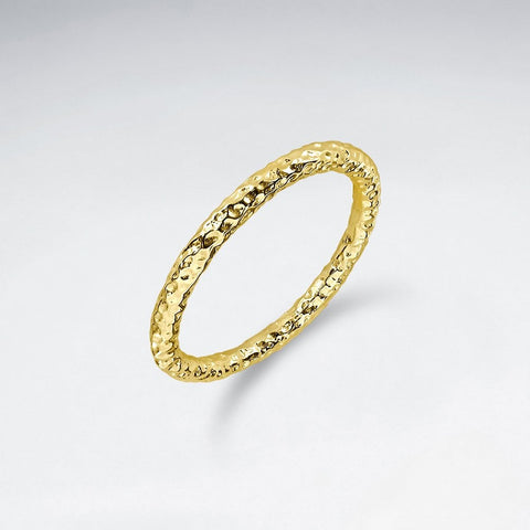 Hammered tube Ring - Size 8 - Gold