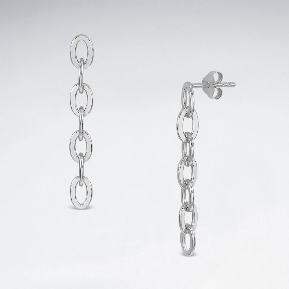 Dangle Cable Link Earrings - Silver