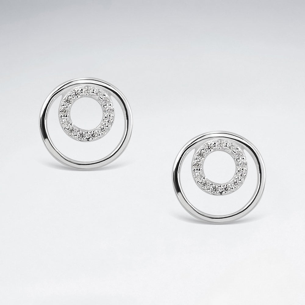 Crystal Double ring Earrings - Silver