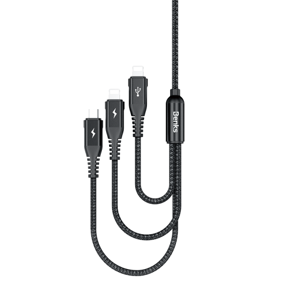 BENKS D25 3-in-1 Nylon Braided Micro Plus Lightning Cable