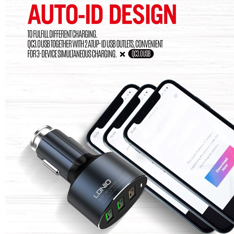 LDNIO C703Q 3.6A QC3.0 Fast Charging Three Ports Fast USB Car Charger with Micro USB Cable