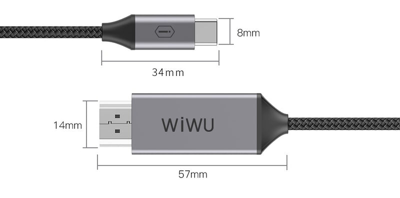 Wiwu Type-C to HDMI, Fast Data Transfer And Support For 4K Display Cable