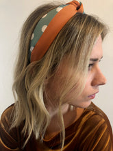Load image into Gallery viewer, Orange and Green Polka Dot Headband