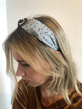 Load image into Gallery viewer, Dove Grey Polka Dot Bow Headband