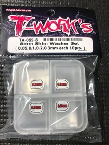 T-WORKS 8mm Shim Washer Set ( 0.05,0.1,0.2,0.3mm each 10pcs. ) #TA-095-8