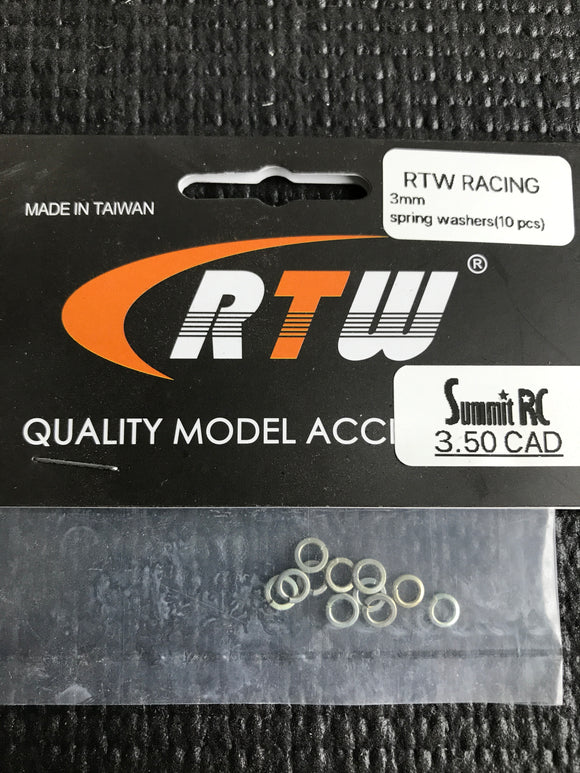 RTW RACING 3mm SPRING WASHERS FOR ENGING MOUNT (10pcs)